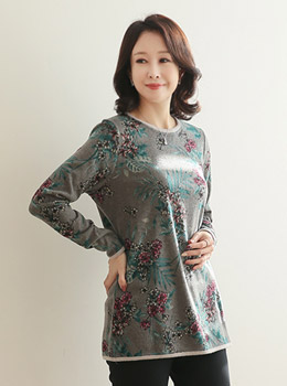 [9D-TS917] Brushed Flower Round Tee