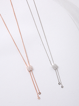 [YY-AC091] Crystal Cube Drop Necklace