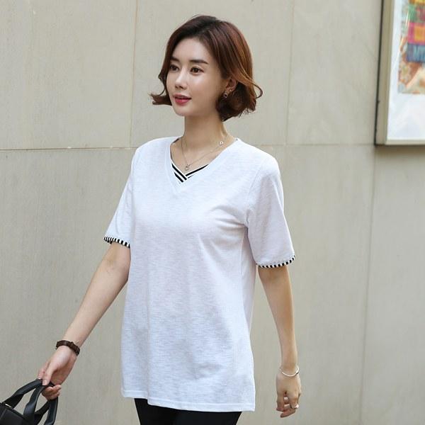 TBA3101 Muld Color V-neck T-shirt