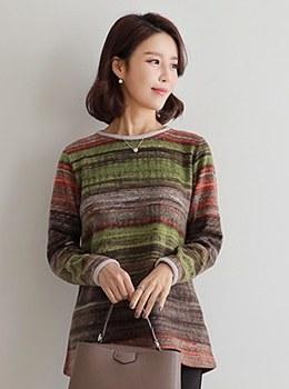 [9D-TS091] Striped brushed T-shirt